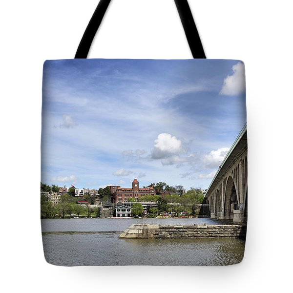 Key Bridge Into Georgetown Tote Bag by Brendan Reals