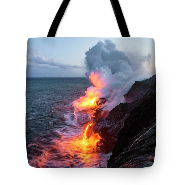 Kilauea Volcano Lava Flow Sea Entry 3- The Big Island Hawaii Tote Bag by Brian Harig
