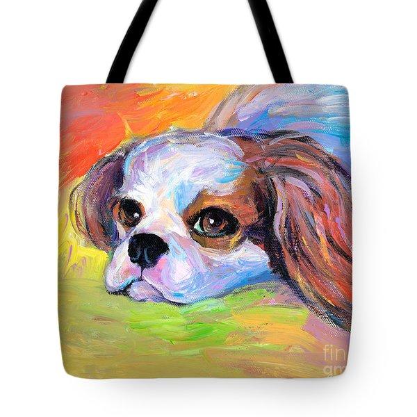 King Charles Cavalier Spaniel Dog Painting Tote Bag by Svetlana Novikova