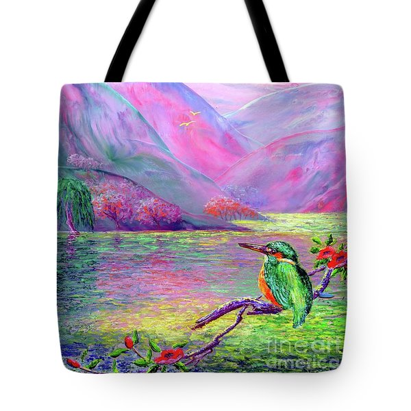 Kingfisher, Shimmering Streams Tote Bag by Jane Small