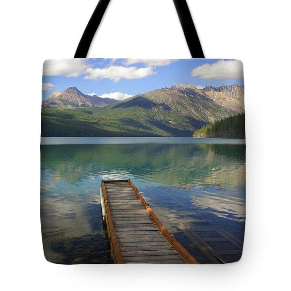 Kintla Lake Dock Tote Bag by Marty Koch