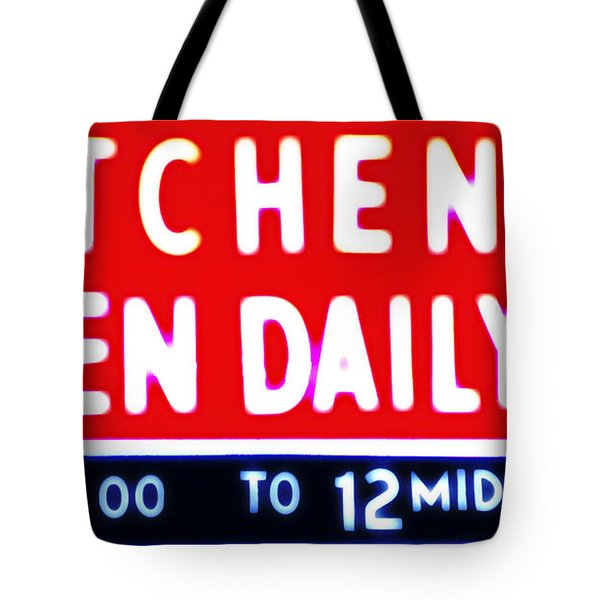 Kitchen Open Daily Tote Bag by Bill Cannon