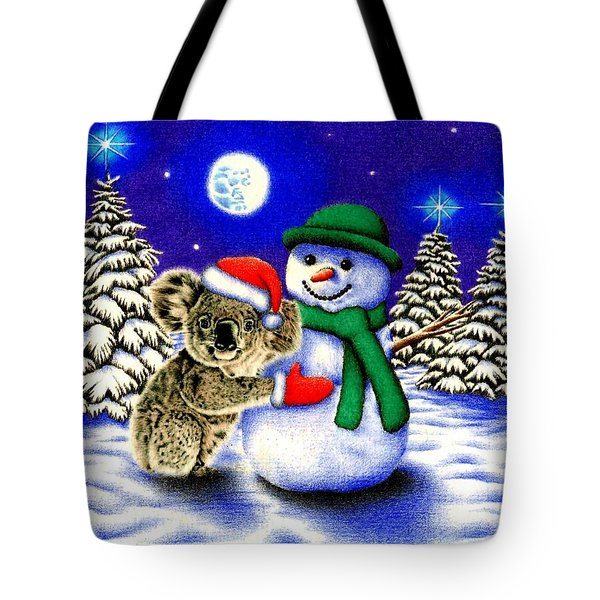 Koala With Snowman Tote Bag by Remrov