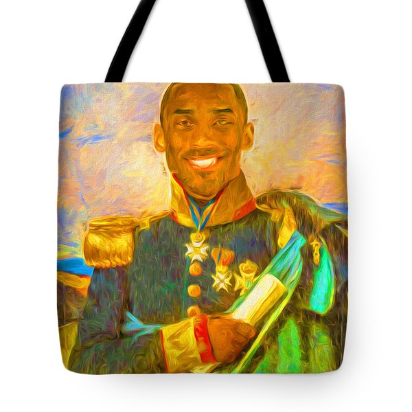 Kobe Bryant Floor General Digital Painting La Lakers Tote Bag by David Haskett