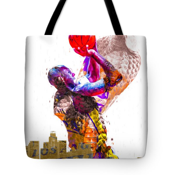 Kobe Bryant Los Angeles Lakers Digital Painting Snake 1 Tote Bag by David Haskett