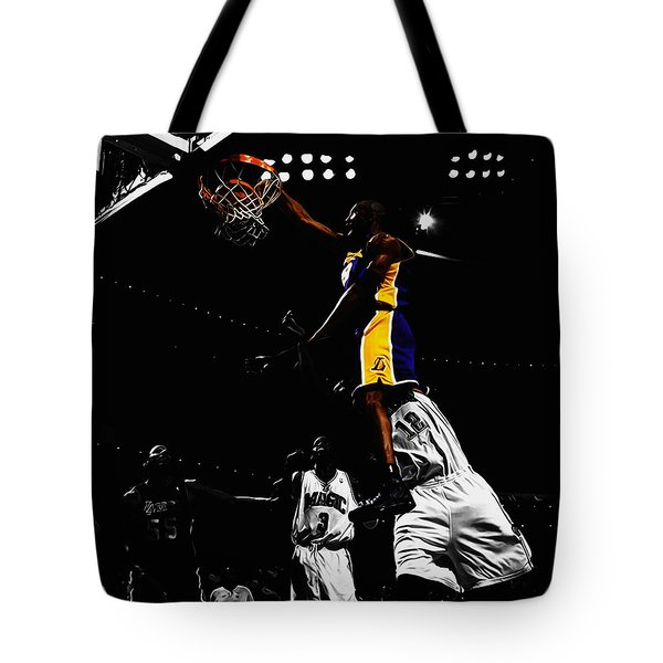 Kobe Bryant On Top Of Dwight Howard Tote Bag by Brian Reaves