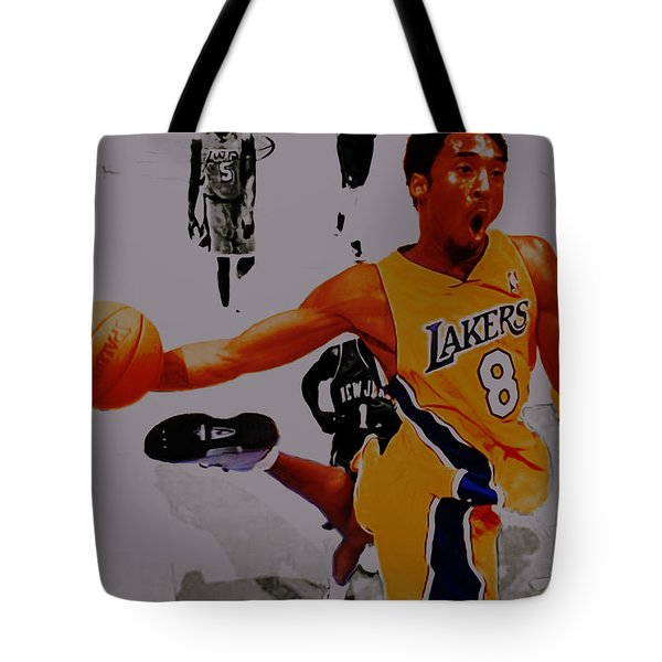Kobe Bryant Taking Flight 3a Tote Bag by Brian Reaves