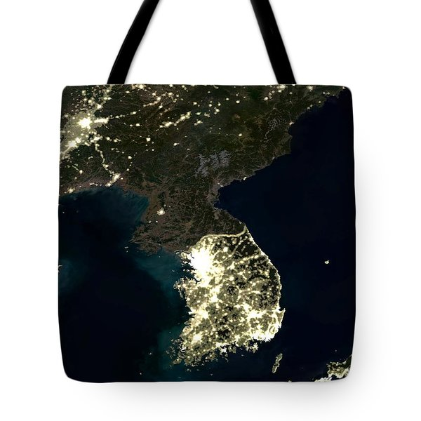 Korean Peninsula Tote Bag by Planet Observer and SPL and Photo Researchers