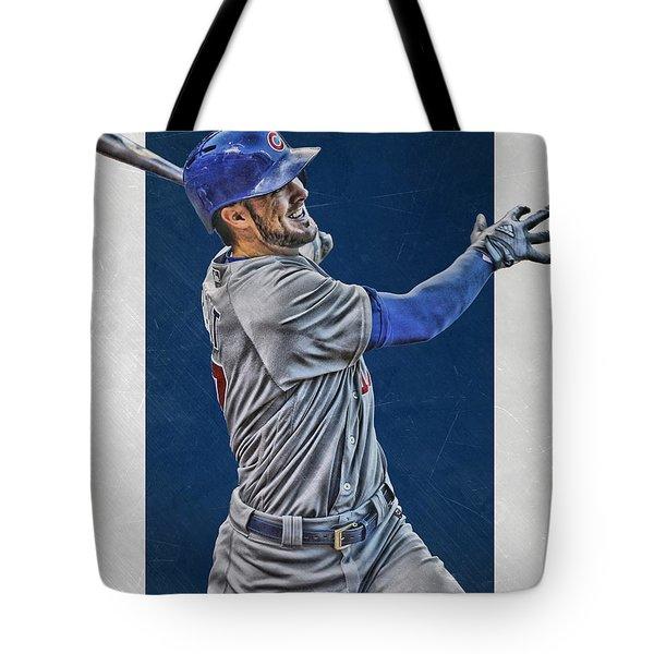 Kris Bryant Chicago Cubs Art 3 Tote Bag by Joe Hamilton