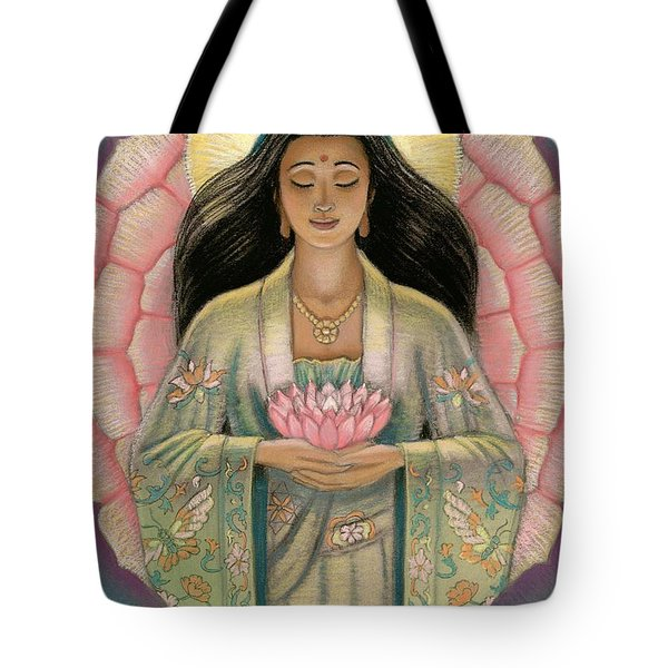 Kuan Yin Pink Lotus Heart Tote Bag by Sue Halstenberg