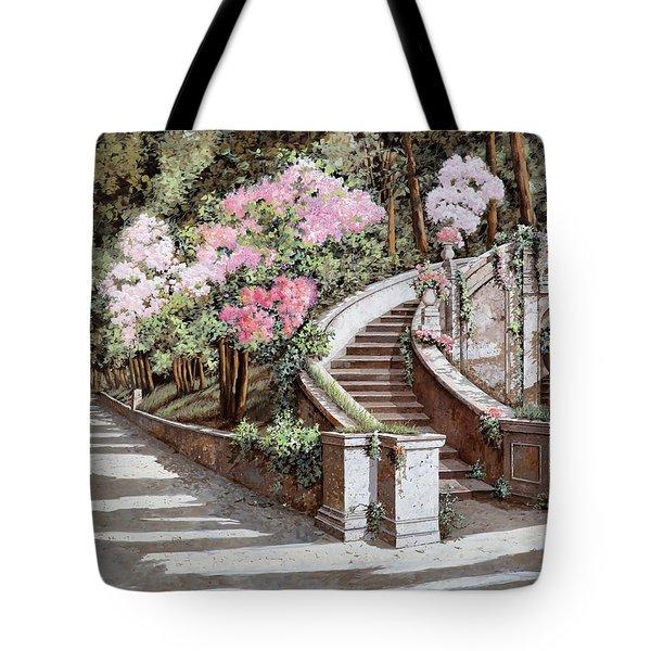 La Scalinata E I Fiori Rosa Tote Bag by Guido Borelli