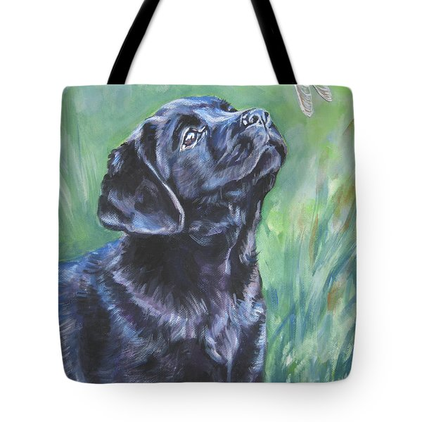 Labrador Retriever pup and dragonfly Tote Bag by L A Shepard