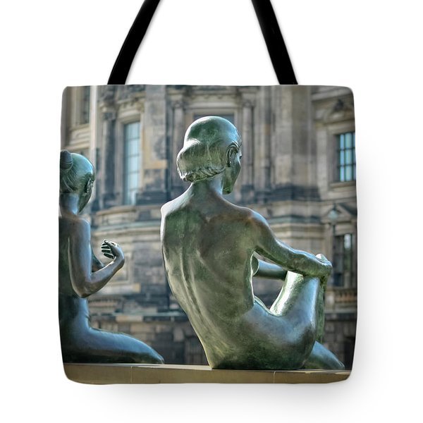 Ladies By The River Tote Bag by Joan Carroll
