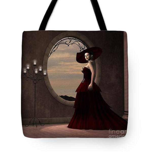 Lady In Red Dress Tote Bag by Corey Ford