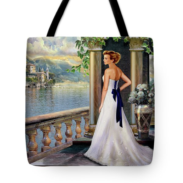 Lady On The Stairs By Lake Como. Tote Bag by Gina Femrite