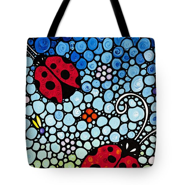 Ladybug Art - Joyous Ladies 2 - Sharon Cummings Tote Bag by Sharon Cummings