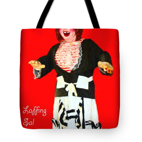 Laffing Sal - Playland at The Beach - San Francisco - 7D14361 - Red with Text Tote Bag by Wingsdomain Art and Photography