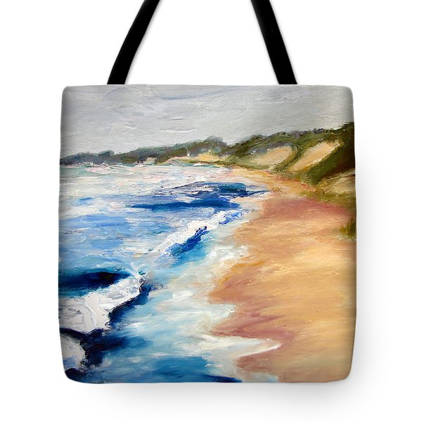 Lake Michigan Beach With Whitecaps Detail Tote Bag by Michelle Calkins