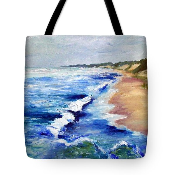 Lake Michigan Beach with Whitecaps Tote Bag by Michelle Calkins