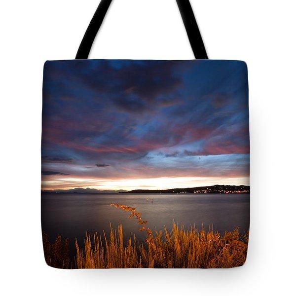 Lake Taupo Sunset Tote Bag by Marc Garrido