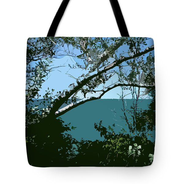 Lake Through the Trees Tote Bag by Michelle Calkins