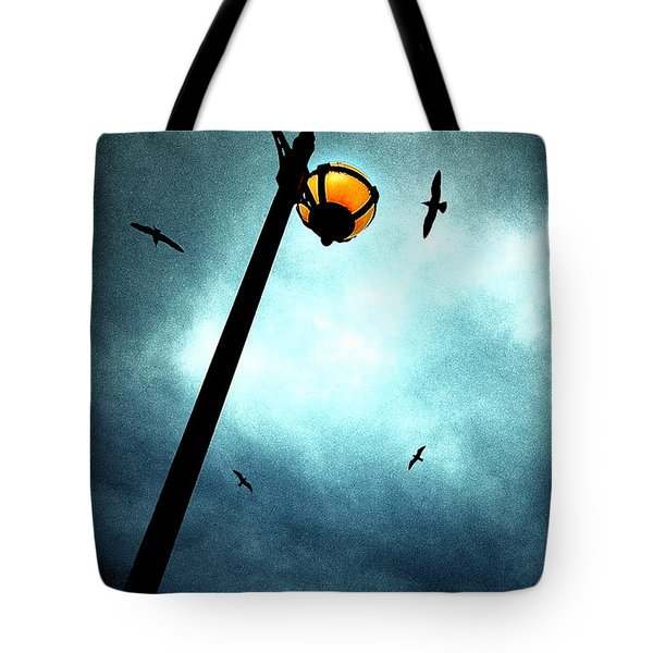Lamps With Birds Tote Bag by Meirion Matthias
