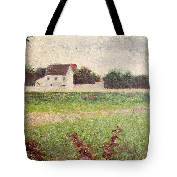 Landscape In The Ile De France Tote Bag by Georges Pierre Seurat