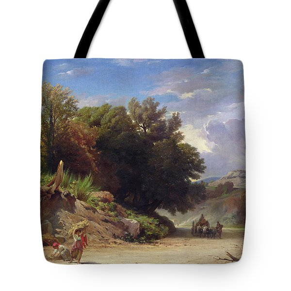 Landscape On The Outskirts Of Rome Tote Bag by Jean Achille Benouville