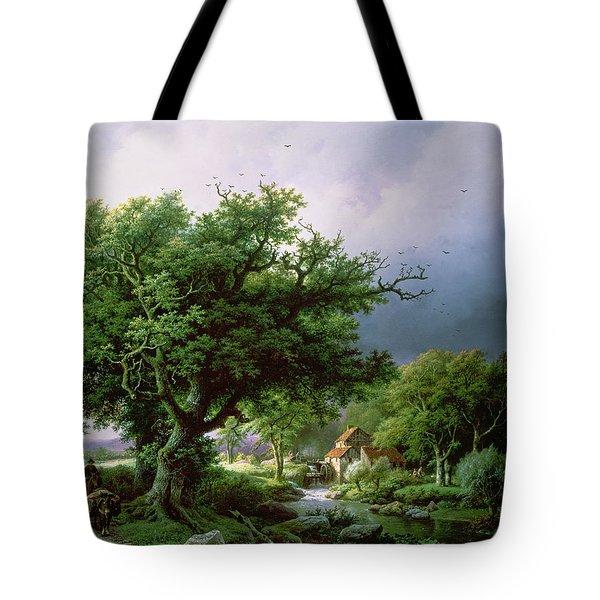 Landscape With A Mill Tote Bag by Barend Cornelis Koekkoek
