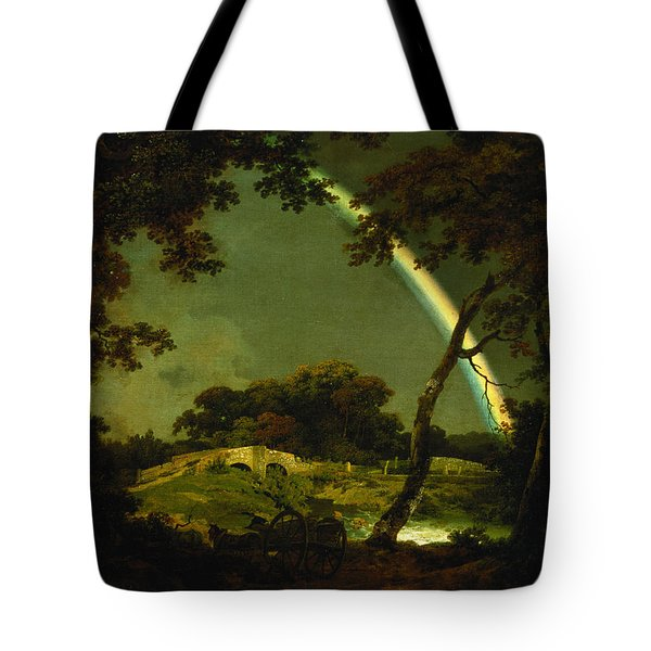 Landscape With A Rainbow Tote Bag by Joseph Wright of Derby
