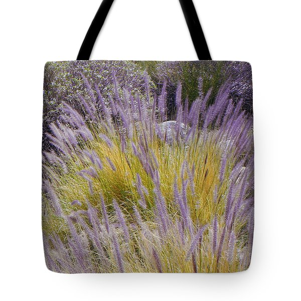 Landscape With Purple Grasses Tote Bag by Ben and Raisa Gertsberg