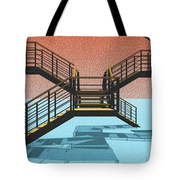 Large Stair 38 On Cyan And Strange Red Background Abstract Arhitecture Tote Bag by Pablo Franchi