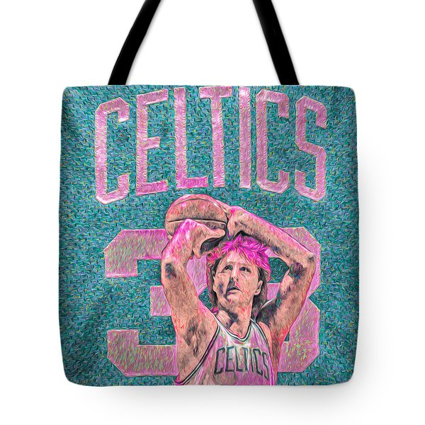 Larry Bird Boston Celtics Digital Painting Pink Tote Bag by David Haskett