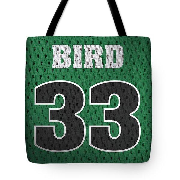Larry Bird Boston Celtics Retro Vintage Jersey Closeup Graphic Design Tote Bag by Design Turnpike
