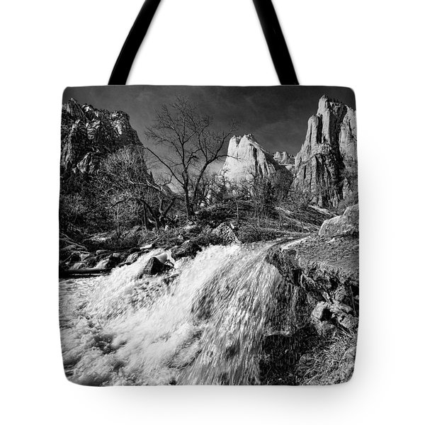 Late Afternoon At The Court Of The Patriarchs - Bw Tote Bag by Christopher Holmes