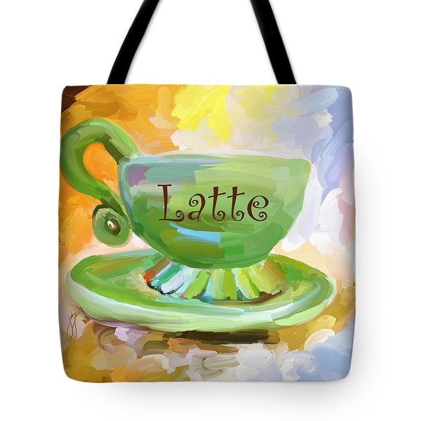 Latte Coffee Cup Tote Bag by Jai Johnson