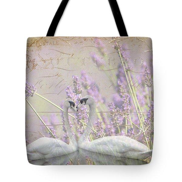 Lavender Swans Zen  Love Tote Bag by ArtyZen Studios