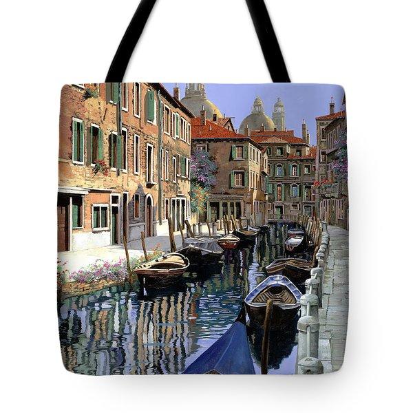 Le Barche Sul Canale Tote Bag by Guido Borelli