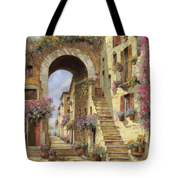 le scale e un arco Tote Bag by Guido Borelli