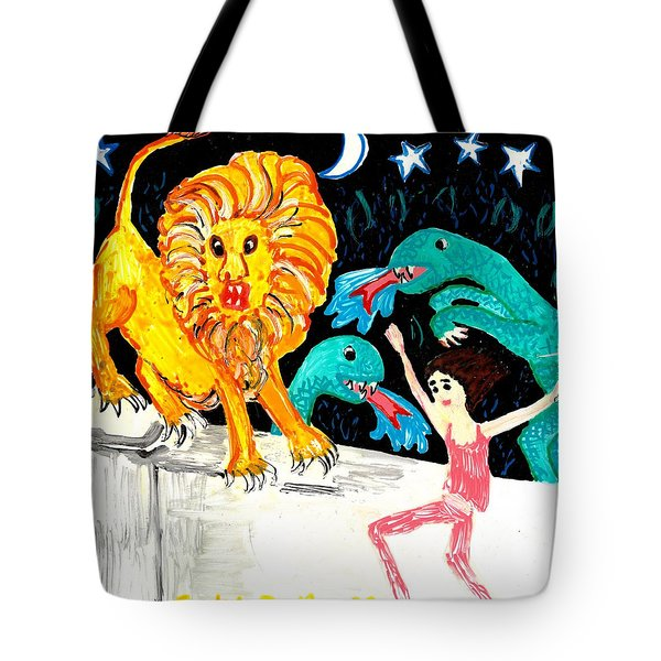 Leap Away From The Lion Tote Bag by Sushila Burgess