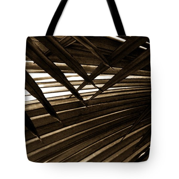 Leaves Of Palm Sepia Tote Bag by Marilyn Hunt
