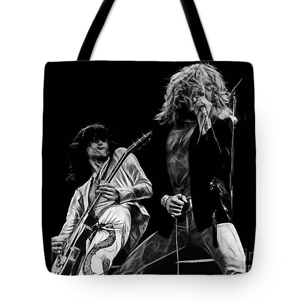 Led Zeppelin Robert Plant Jimmy Page Collection Tote Bag by Marvin Blaine