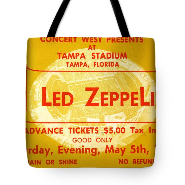Led Zeppelin Ticket Tote Bag by David Lee Thompson