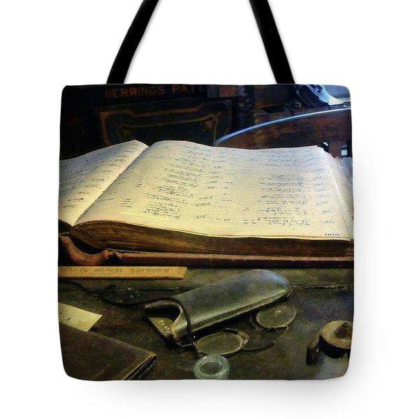 Ledger and Eyeglasses Tote Bag by Susan Savad