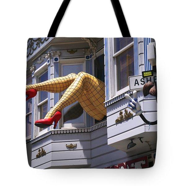Legs In Window Sf Tote Bag by Garry Gay