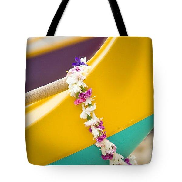 Lei draped over outrigger Tote Bag by Dana Edmunds - Printscapes