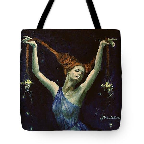 Libra From Zodiac Series Tote Bag by Dorina  Costras