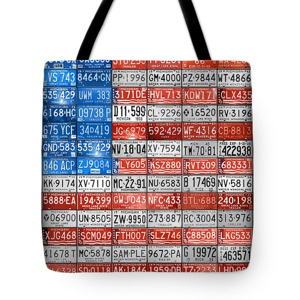 License Plate Flag Of The United States Tote Bag by Design Turnpike