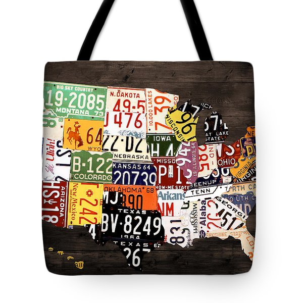 License Plate Map of The United States - Warm Colors / Black Edition Tote Bag by Design Turnpike