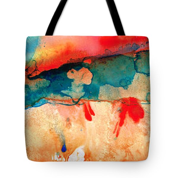 Life Eternal Red And Green Abstract Tote Bag by Sharon Cummings
